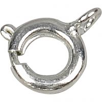 Spring Ring Clasps, D: 7 mm, silver-plated, 100 pc/ 1 pack