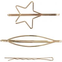 Hair claws, L: 70 mm, W: 32 mm, gold-plated, 3 pc/ 1 pack