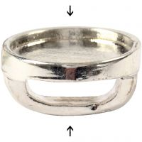 Cabochon Spacer Bead, D: 15 mm, hole size 3x10 mm, silver-plated, 25 pc/ 1 pack