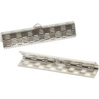 Fold-Over Ends, H: 6 mm, W: 34 mm, silver-plated, 6 pc/ 1 pack