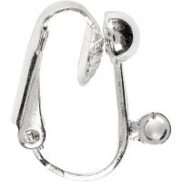 Clip-On Earrings, L: 16,5 mm, W: 1,5 mm, hole size 1,6 mm, silver-plated, 6 pc/ 1 pack