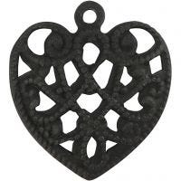 Heart, size 13x14 mm, hole size 1 mm, black, 4 pc/ 1 pack