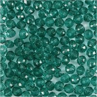 Faceted Beads, D: 4 mm, hole size 1 mm, green, 45 pc/ 1 strand