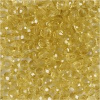 Faceted Beads, D: 4 mm, hole size 1 mm, yellow, 45 pc/ 1 strand
