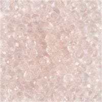 Faceted Beads, D: 4 mm, hole size 1 mm, light rose, 45 pc/ 1 strand
