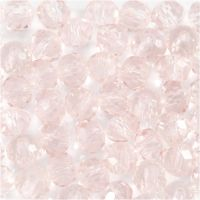 Glass Beads, D: 4 mm, hole size 1 mm, light rose, 45 pc/ 1 strand