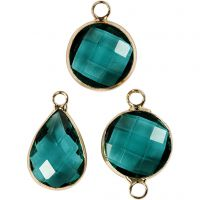 Jewellery Pendant, H: 15-20 mm, hole size 2 mm, green, 1 pack