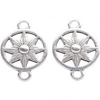 Jewellery Pendant, D: 15 mm, hole size 2,5 mm, silver-plated, 2 pc/ 1 pack