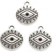 Jewellery Pendant, D: 16 mm, hole size 1,8 mm, silver-plated, 3 pc/ 1 pack