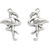 Jewellery Pendant, H: 30 mm, W: 18 mm, hole size 2 mm, silver-plated, 2 pc/ 1 pack