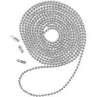 Bead Chain, D: 1,5 mm, silver-plated, 1 m