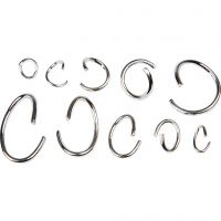 Oval & Round Jump Rings - Assortment, silver-plated, 800 asstd./ 1 pack