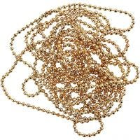Bead Chain, D: 1,5 mm, gold-plated, 1,5 m/ 1 roll