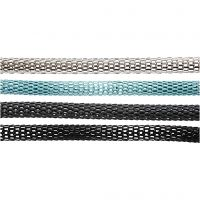 Articulated chain, D: 4,2 mm, black, dark grey, silver, turquoise, 20x160 cm/ 1 pack