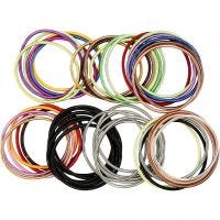 Spring Bracelet, L: 18 cm, thickness 3 mm, assorted colours, 84 pc/ 1 pack