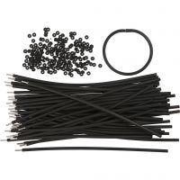 Bracelet, L: 20 cm, thickness 4 mm, black, 48 set/ 1 pack