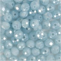 Faceted Beads, size 5x6 mm, hole size 1 mm, sea blue, 100 pc/ 1 pack