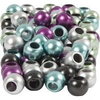 Pony Beads, D: 10 mm, hole size 4 mm, metallic colours, 125 ml/ 1 pack, 60 g