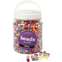 Letter Beads, size 7x7x7 mm, hole size 3 mm, assorted colours, 700 ml/ 1 tub, 450 g