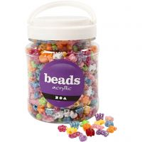 Novelty Shape Beads, D: 10 mm, hole size 3 mm, assorted colours, 700 ml/ 1 tub, 380 g