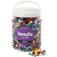 Pony Beads, D: 8 mm, hole size 4 mm, assorted colours, 700 ml/ 1 tub, 415 g