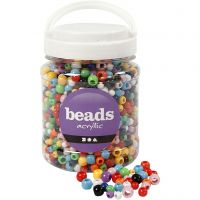 Pony Beads, D: 6-10 mm, hole size 3-5 mm, assorted colours, 700 ml/ 1 tub, 430 g