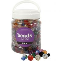 Faceted Bead Mix, size 10-12-16 mm, hole size 1-2,5 mm, assorted colours, 700 ml/ 1 tub, 500 g
