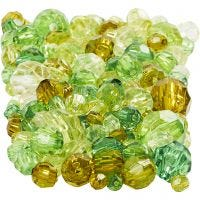 Faceted Bead Mix, size 4-12 mm, hole size 1-2,5 mm, green glitter, 250 g/ 1 pack