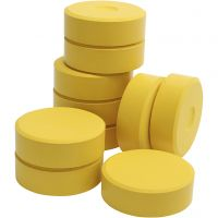 Tempera paint blocks, H: 19 mm, D: 57 mm, yellow, 10 pc/ 1 pack