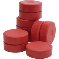 Tempera paint blocks, H: 19 mm, D: 57 mm, red, 10 pc/ 1 pack