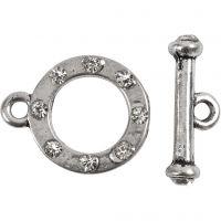 L: 17 mm, D: 20 mm, hole size 2 mm, antique silver, 1 set