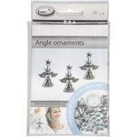 Angel Ornament, H: 5,5 cm, antique silver, 4 pc/ 1 pack
