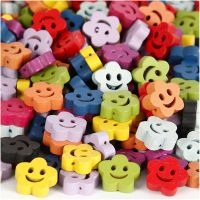 Shaped wooden beads, D: 13 mm, hole size 1 mm, assorted colours, 100 g/ 1 pack