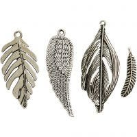 Feather, size 29-55 mm, hole size 12-20 mm, antique silver, 4 pc/ 1 pack