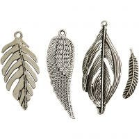 Feather, D: 29-55 mm, hole size 12-20 mm, antique silver, 4x10 pc/ 1 pack