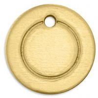 Metal Tag, Ring, D: 13 mm, hole size 1,85 mm, thickness 1 mm, brass, 11 pc/ 1 pack