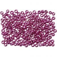 Rocaille Seed Beads, D: 3 mm, size 8/0 , hole size 0,6-1,0 mm, metallic purple, 500 g/ 1 pack