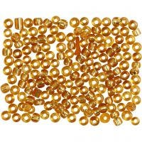 Rocaille Seed Beads, D: 3 mm, size 8/0 , hole size 0,6-1,0 mm, gold, 500 g/ 1 pack