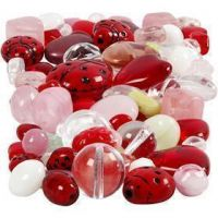 Glass beads, Ladybugs, leaves, hearts, size 5-22 mm, hole size 0,5-1,5 mm, assorted colours, 60 g/ 1 pack
