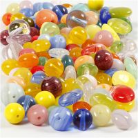 Glass beads, round, oval, circular, D: 6-13 mm, hole size 0,5-1,5 mm, assorted colours, 350 g/ 1 pack
