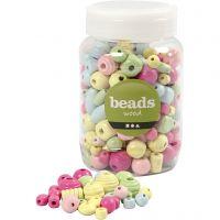 Wooden Beads, D: 10-15 mm, hole size 3-5 mm, light blue, light green, light red, light yellow, 400 ml/ 1 bucket