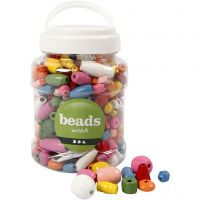 Wooden Beads, size 5-28 mm, hole size 2,5-3 mm, assorted colours, 400 ml/ 1 bucket, 175 g