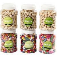 Wooden Beads, D: 5-25 mm, 6x400 ml/ 1 pack, 6x200 g