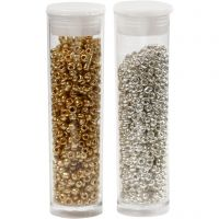 Rocaille Seed Beads, D: 1,7 mm, size 15/0 , hole size 0,5-0,8 mm, gold, silver, 2x7 g/ 1 pack