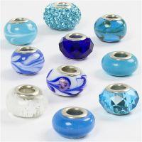 Glass Charm Beads, D: 13-15 mm, hole size 4,5-5 mm, blue harmony, 10 asstd./ 1 pack