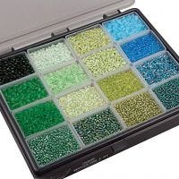 Rocaille Seed Beads, D: 3+4 mm, size 6/0+8/0 , hole size 0,6-1,0+0,9-1,2 mm, assorted colours, 16x100 g/ 1 pack