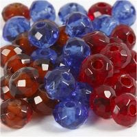 Glass Charm Beads, size 9x14 mm, hole size 4 mm, blue, brown, red, 36 pc/ 1 pack