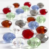 Glass Charm Beads, size 9x14 mm, hole size 4 mm, assorted colours, 24 asstd./ 1 pack