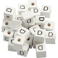 Letter Bead, D, size 8x8 mm, hole size 3 mm, white, 25 pc/ 1 pack