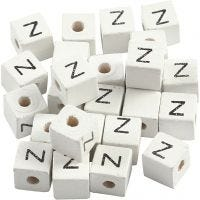 Letter Bead, Z, size 8x8 mm, hole size 3 mm, white, 25 pc/ 1 pack